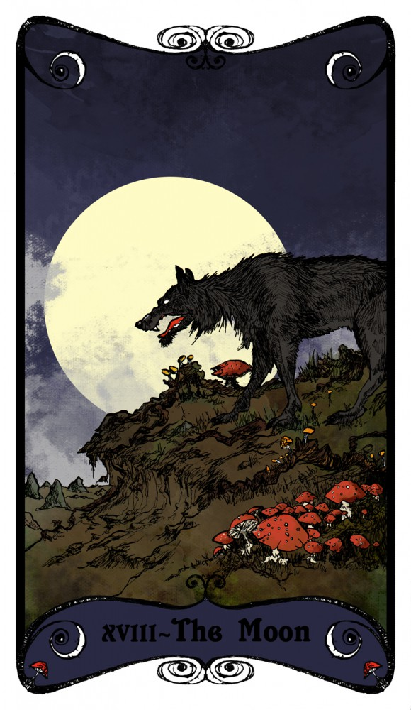 Card 18 of the Stormcrow Tarot - The Moon